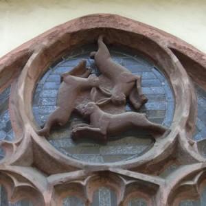 Rappresentazione di tre lepri nel Paderborner Dom, Germania