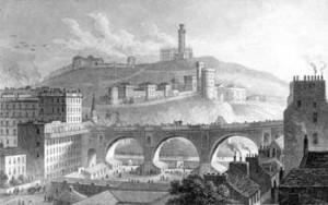 Vista del North Bridge e Calton Hill in costruzione